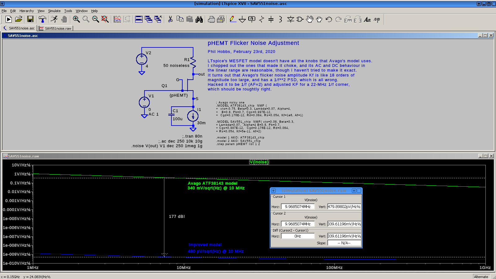 Screen shot of schematic and noise plot